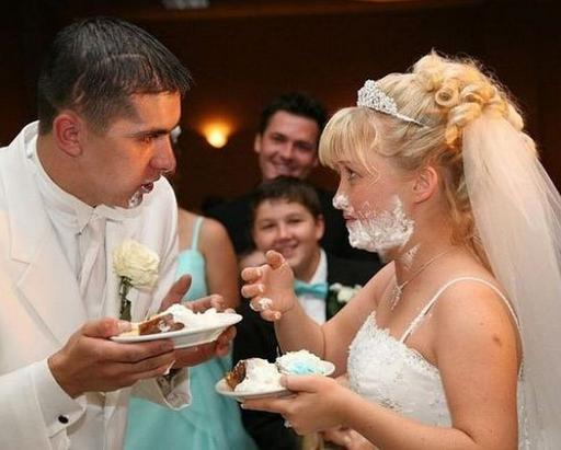 newlywed fun with cake frosting