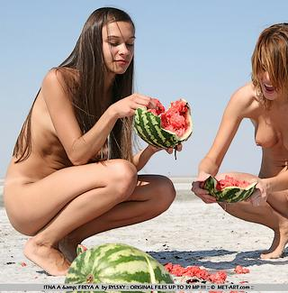 two naked girls plus one watermelon equals picnic