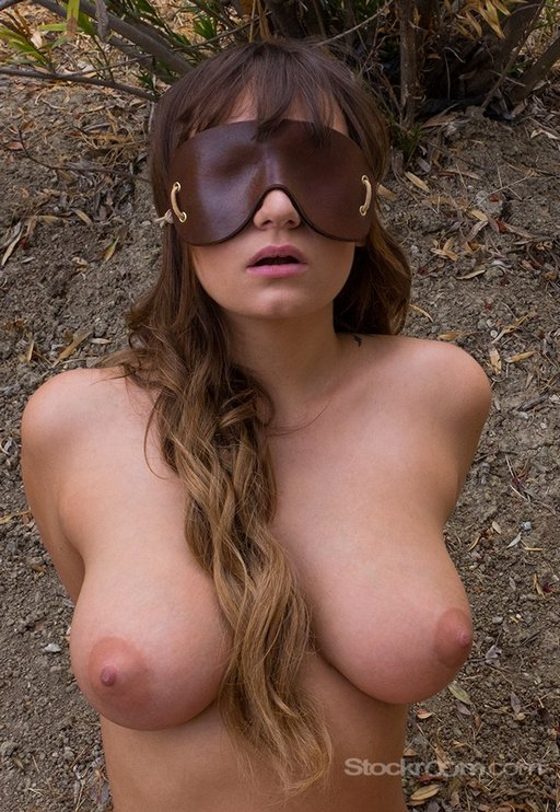 contoured molded face-hugging heavy leather blindfold