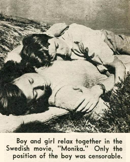 Boy and girl relax together in the  Swedish movie Monika -- only the  position of the boy was censorable