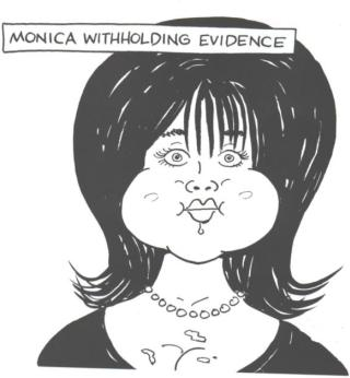 Monica Lewinsky withholding evidence like a squirrel carrying nuts