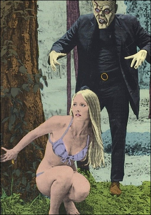 frankenstein monster chases blonde woman