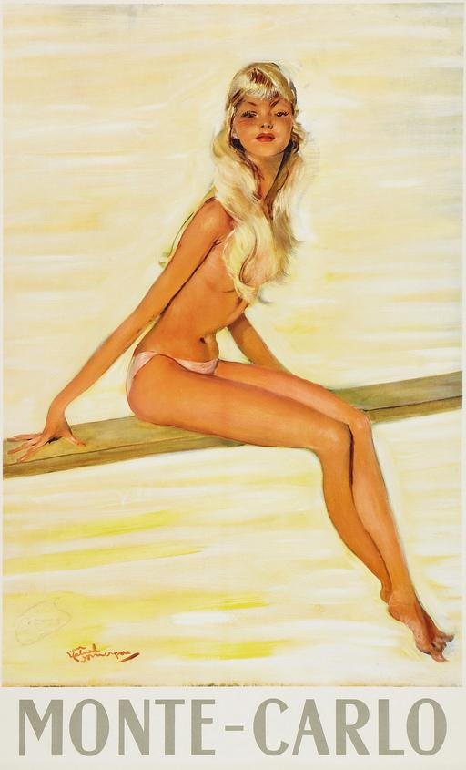 monte carlo travel poster topless blonde