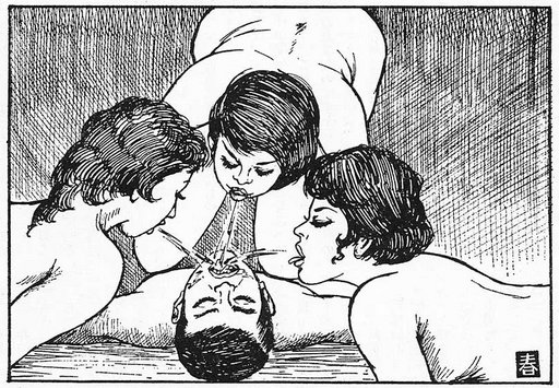 three women spitting in a submissive man's mouth