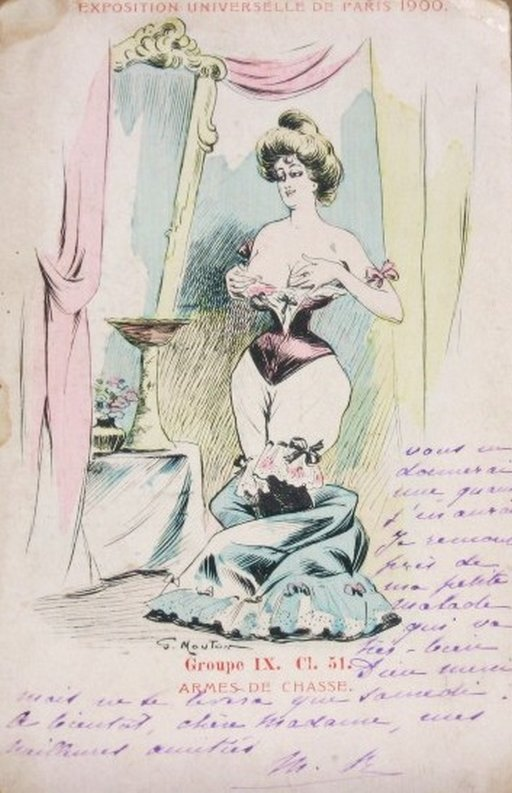 woman in a very extreme corset fondling her breasts in a postcard for the Paris Exposition of 1900