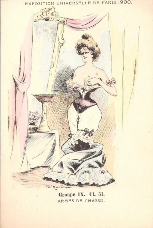 Georges Mouton fetish corsetry art postcard
