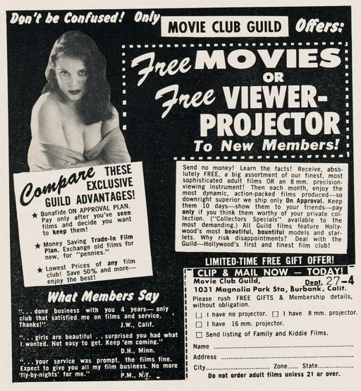 scan dolls magazine ad for movie club guild