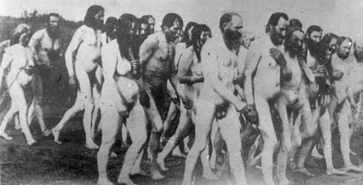 naked doukhobors marching