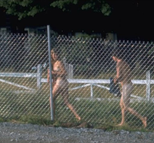 nude hippies behind a chain link fence at music festival