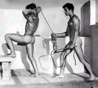 naked men playing at master and slave