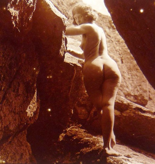 vintage french stereo view naked nudist naturist girl at cave mouth