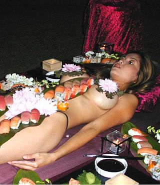 naked woman sushi feast