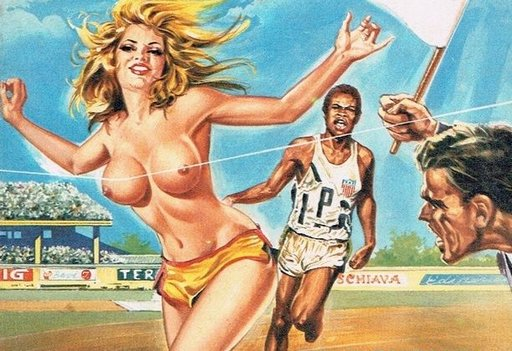 topless victory track and field footrace running