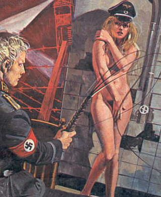 girl gettign a whipping from a Nazi
