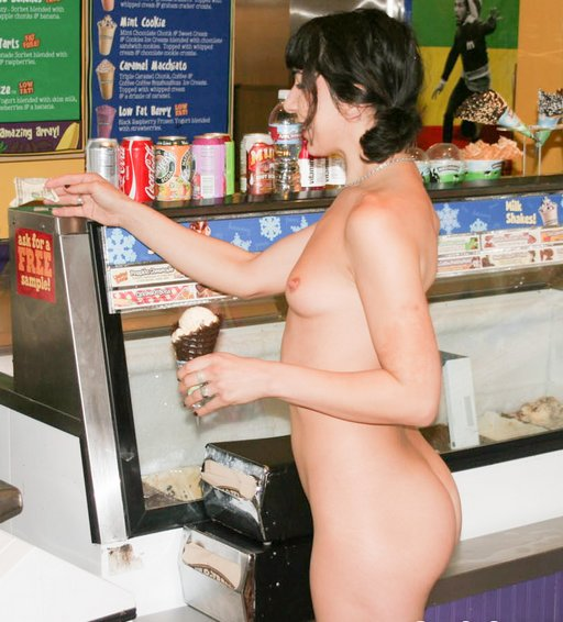marie goes into an ice cream shop and buys a waffle cone in the nude