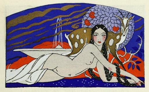 1919 1920 girl with the long dark hair artwork