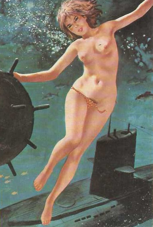 topless bikini girl with her hand on an anti-shipping mine