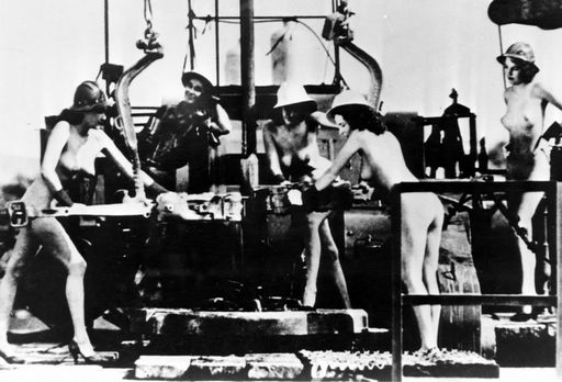 women posing naked in gritty industrial setting