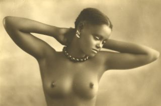 naked ethiopian beauty on vintage italian nudie postcard