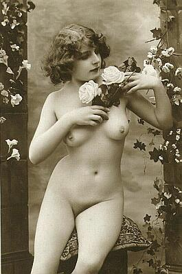 vintage nude with roses