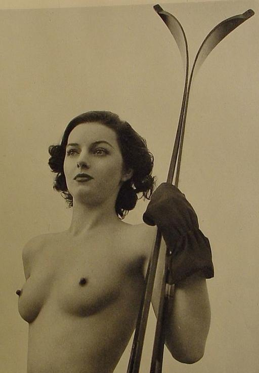 nude with skis and erect nipples