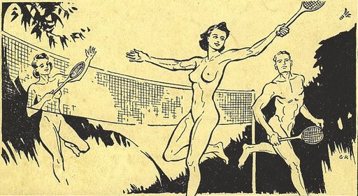 vintage line art of nudist tennis players