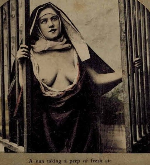 vintage nun at a window with bare breasts to catch the cool breezes