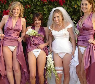 drunk bridesmaids labeled on their panties