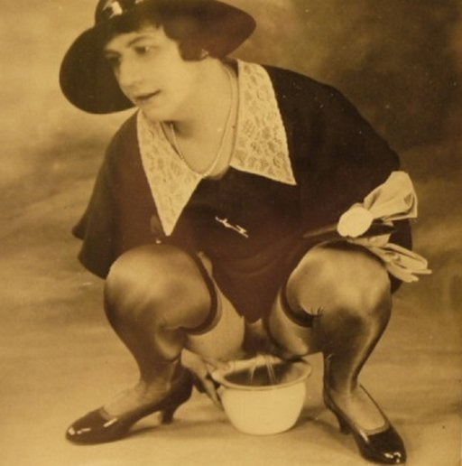 woman pissing into a chamberpot