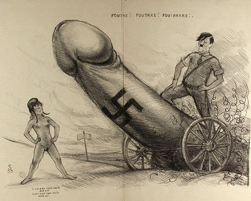 Hitler astride the giant penis artillery as it moves forward in conquest; a small naked woman stands in the way