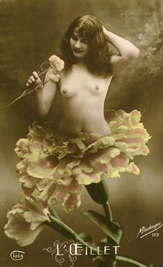 surreal nude woman flower