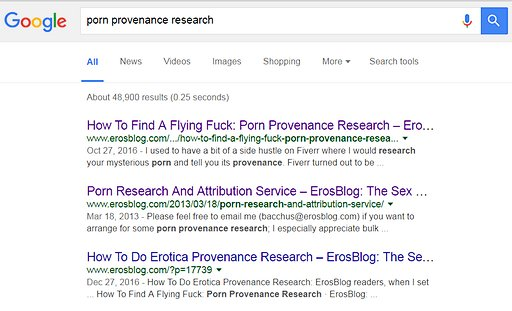porn and erotica  provenance research google search results screenshot