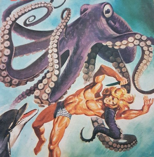 muscled beauty of a brainless hero about to be eaten by a giant octopus