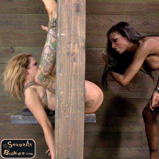 painful bondage pussy spanking for Rain DeGrey