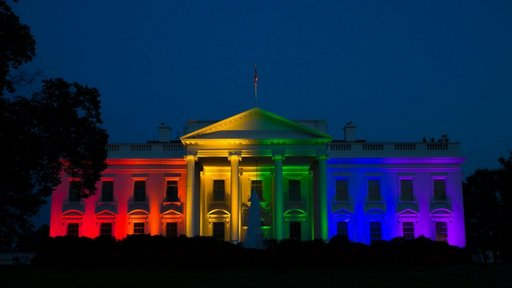 rainbow lighting at the whitehouse after supreme court confirms the constitutional right to marriage for all people, including gay people