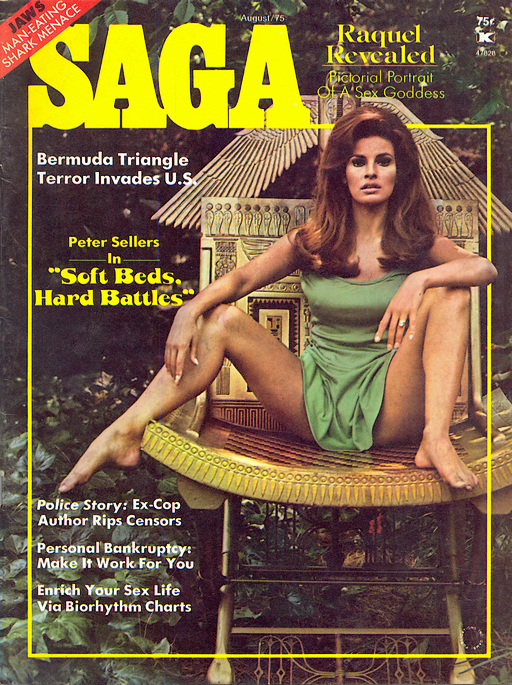 Raquel Welch on cover of Saga magazine