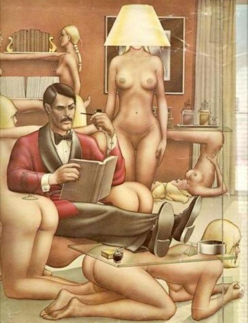 man reads a book surrounded by women as furniture