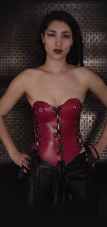 Red Corset with Nipple Rings