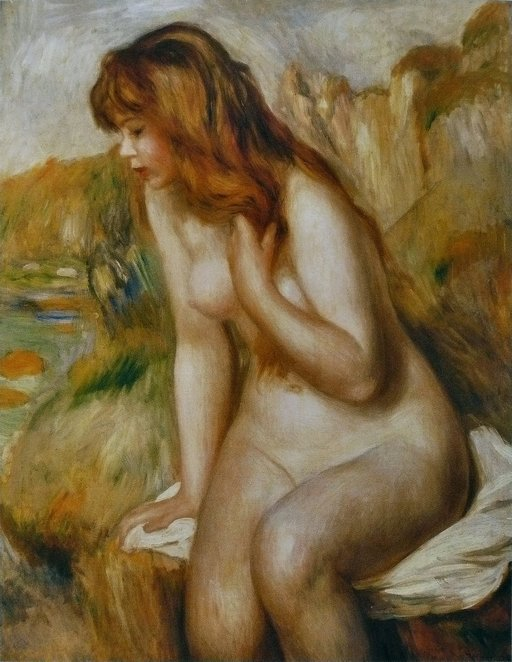 bather on a rock oil painting by renoir