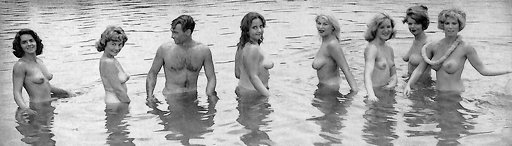 swimming with a whole bunch of pretty nudist women