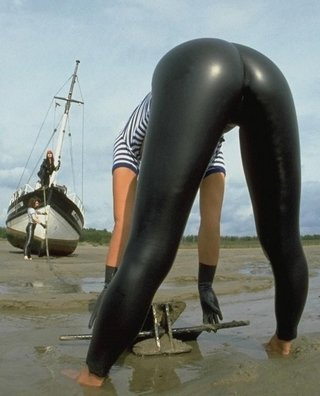 crew woman wearing rubber pants