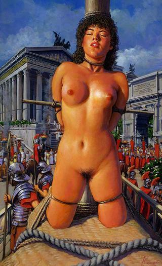 roman slave girl in public bondage -- art by Kanai