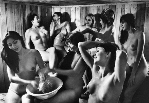 women in rural russian bath house