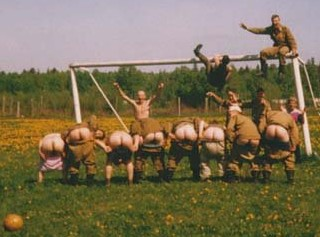 soccer mooning, russian army style