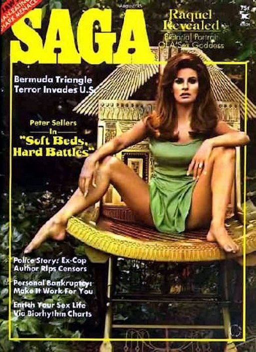 Raquel Welch in a skimpy dress on the cover of Saga magazine in august 1975
