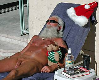 Santa Clause kicking  back for some nude sunbathing