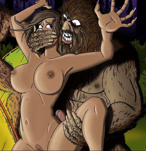 grabbed by bigfoot for wild forest sex
