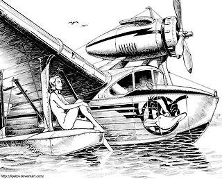nude girl on pontoon of a seaplane