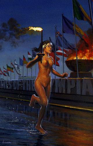 nude woman running the olypmic torch