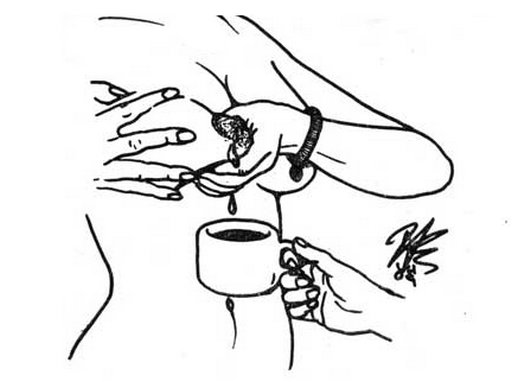 submissive woman squeezing her breast milk into a cup of tea